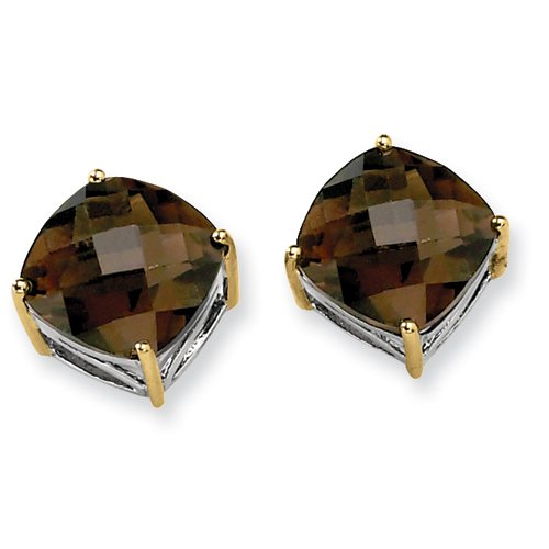 Sterling Silver & 14k Gold Smokey Quartz Earrings