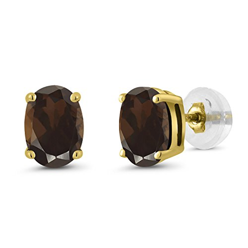 - Gem Stone King 1.50 Ct Oval 7x5mm Brown Smoky Quartz 10K Yellow Gold Stud Basket Setting Earrings