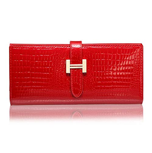 JBHURF Fashion Leather Ladies Wallet Long Patent Leather Wallet Credit Card Holder (Color : Rose red, Size : One Size)