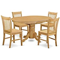 East West Furniture AVNO5-OAK-W 5 Piece Small Kitchen Table and 4 Dining Chair Set