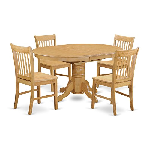 East West Furniture AVNO5-OAK-W 5 Piece Small Kitchen Table and 4 Dining Chair Set (Carved Oval Extension Table)