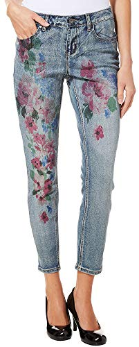 Earl Jean Womens Floral Skinny Denim Jeans 12 Medium wash