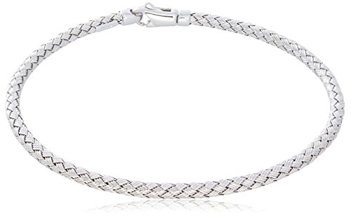 "14K White Gold 3mm Bracelet in Braided Wheat Chain Design | Luxurious Weave Rope Chain Style| 7"" Length by Trusted Jewelers"