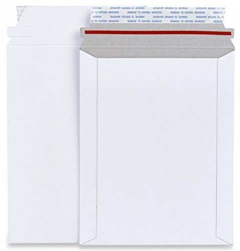 25 Pack Rigid 6 x 8 Paperboard mailers. Stay flat envelopes. White photography mailer. No bend documents, photo, prints. Peel and Seal, Redi-Strip. Fiberboard & cardboard. -