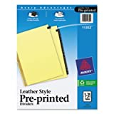 (3 Pack Value Bundle) AVE11352 Gold Reinforced Leather Tab Dividers, 31-Tab, 1-31, Letter, Black, 31/Set