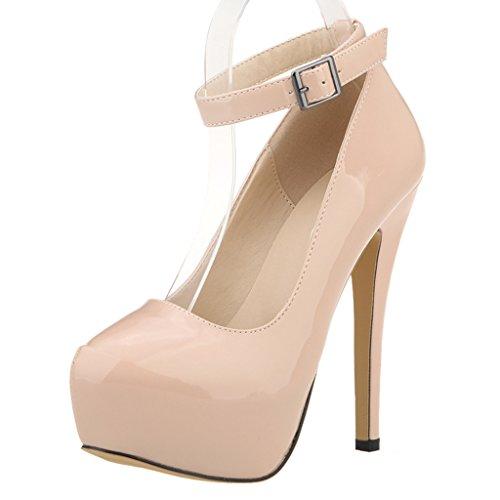 ZriEy Women's Patent Leather 14CM Fashion Sexy Ankle Strap Platform Pumps Stiletto Bridal Party Shoes Nude size 8.5