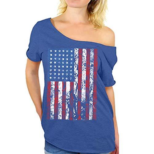 Blue Chambray Basket - Toimothcn American Flag Shirt, Independence Day Women Plus Size Short Sleeve Off Shoulder T-Shirt Tops(Blue,L)