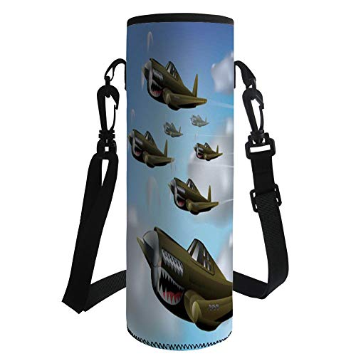 iPrint Water Bottle Sleeve Neoprene Bottle Cover,Airplane Decor,Fighter Aircrafts Up in The Air Combat Fight Battle Machinery Wings Illustration,Blue Green Grey,Fit for Most of Water Bottles by iPrint