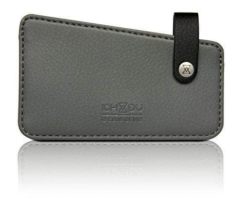 ICH&DU PU Leder Kartenetui / Card Holder für Damen und Herren, grau grey/grau
