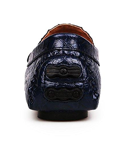 SK Studio Hombre Mocasines de Cuero Slip on Calzado Suave Zapatos de Conducción Mocasine Con Textura Del Cocodrilo Azul