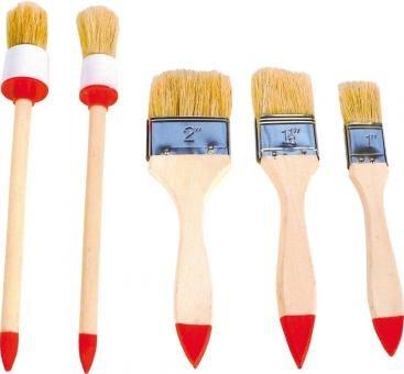 3 Flach 2 Rund Pinsel Malerpinsel Satz 5 St/ück Flachpinsel und Rundpinsel Set