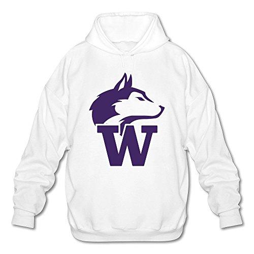 (Men's University Of Washington Huskies Long Sleeve Hooded Sweatshirt X-Large White)