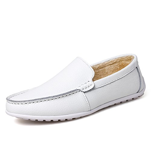 CXQ-Shoes - Mocasines para hombre, color blanco, talla 41 EU