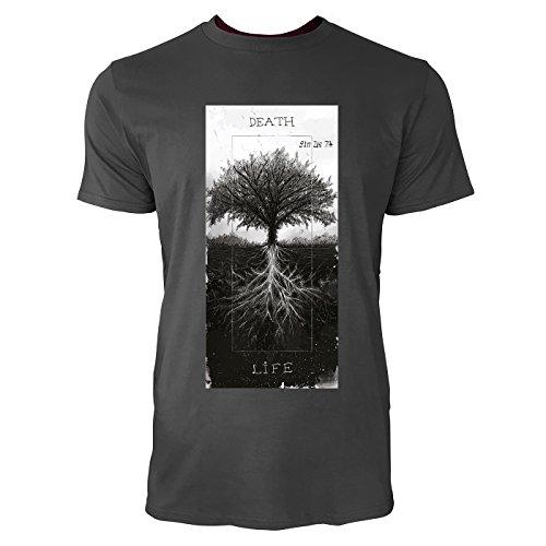 SINUS ART® Baum mit Wurzeln – Death & Life Herren T-Shirts in Smoke Fun Shirt mit tollen Aufdruck