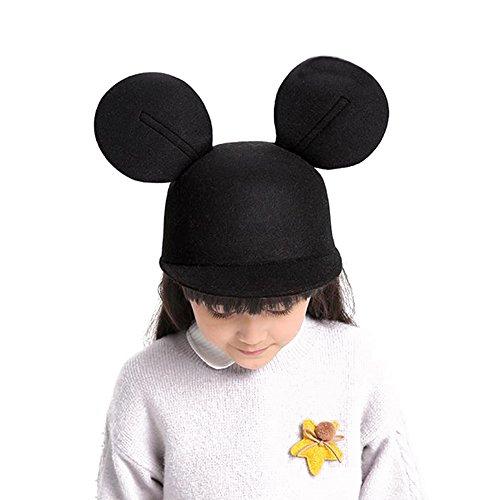 Dreamowl Girls Boys Mouse Ears Cap Wool Equestrian Baseball Outdoor Sun Hats,Black,2T-6T