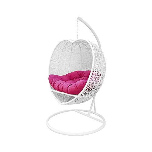 MH GLOBAL Bed Chair Weaved Hanging Hammock Rattan Single Seater White Heart Shape Wicker Swing