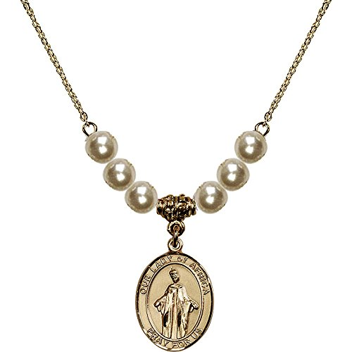 18-Inch Hamilton Gold Plated Necklace with 6mm Faux-Pearl Beads and Our Lady of Africa Charm by Bonyak Jewelry