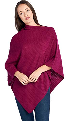 Mariyaab Women's 100% Cashmere Soft Knitted Travel Wrap Poncho Sweater(PS18L, Boysenberry, L/XL)