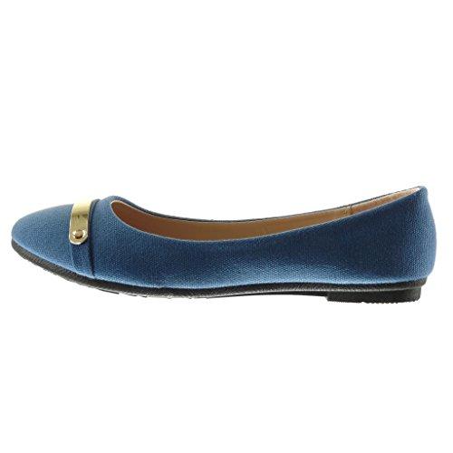 Angkorly - Zapatillas de Moda Bailarinas slip-on mujer metálico trenzado Talón tacón plano 1 CM - Azul