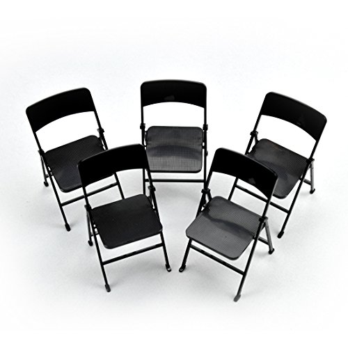 1/6 Scale Action Figure Mini Folding Chair Furniture for 12 inches Hot Toys, Black, Pack of 5