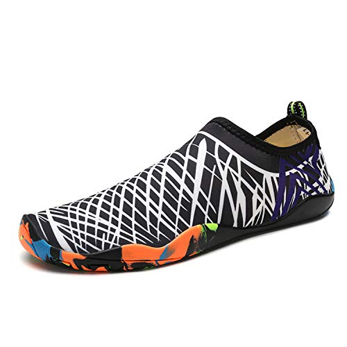 Men Beach Water Shoes Outdoor Swimming Shoes Footwear Sports Sandals Slip-on Aqua Shoes,blk wht,5.5