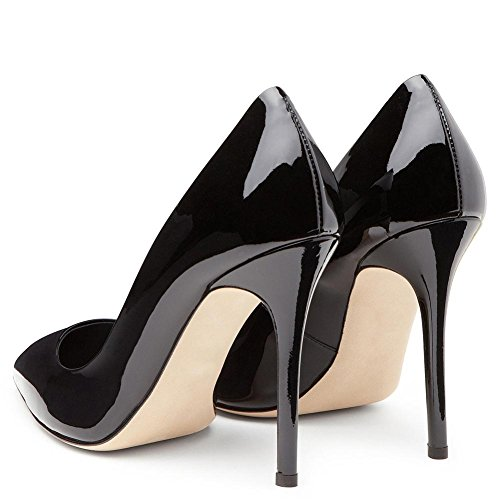 NVXIE Femmes Sexy Tribunal Chaussures Brevet Cuir Stylet Haute Talon Pointu Intelligent Fête Travail Noir Rouge Pompes Robe Boîte de Nuit Taille 35-44 BLACK-EUR44UK10 uWd3rO