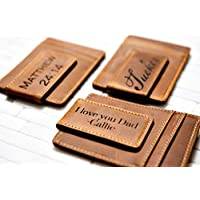Poppies Genuine Leather Money Clip Personalized