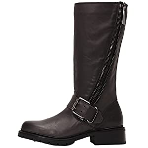 FRYE Women's Samantha Zip Tall Motorcycle Boot, Charcoal Polished Soft Full Grain, 7.5 M US