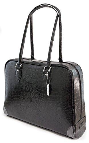 Mobile Edge Large Women's Milano Faux Croc Laptop Handbag, Tote Bag in Black - Milano Ladies Computer Bag