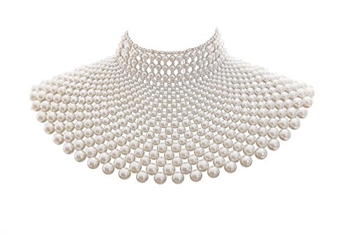 Fine Fashion Handmade Beaded Bib Egyptian Pearl Necklace Collar Women Dress Statement Choker Accessories