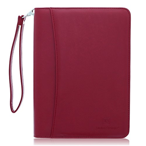 Junior Zippered Business Padfolio with Notepad - Burgundy PU Leather Portfolio Binder & Organizer Folder with 8 Inch Tablet Sleeve by Lautus - Case Portfolio Professional