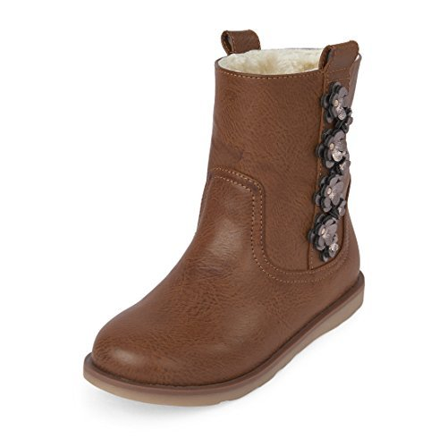 The Children's Place Girls' Fur Lined Fashion Boot, Brown-Boot-1, Youth 2 M US Little Kid