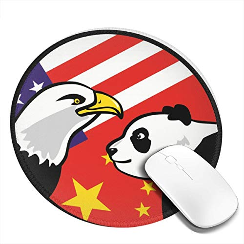 Mouse Pad,Anti Slip Eagle-Panda Logo Mouse Mat for Desktops,Computer, PC and Laptops,Custom Round Mouse Pad for Office and Home ()