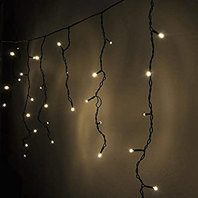LEDwholesalers 16.4 Feet 150 LED Icicle Christmas Holiday Lights with Green Wire