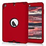 iPad Mini 2 Case, iPad Mini 3 Case, NOKEA [kids-friendly] Shock-Absorption Three Layer Armor Defender Full Body Protective Cover for Apple iPad mini 1/2/3 (Red Black)