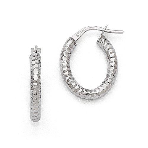 3mm Textured Oval Hoop Earrings in 14k White Gold, 20mm (3/4 Inch)