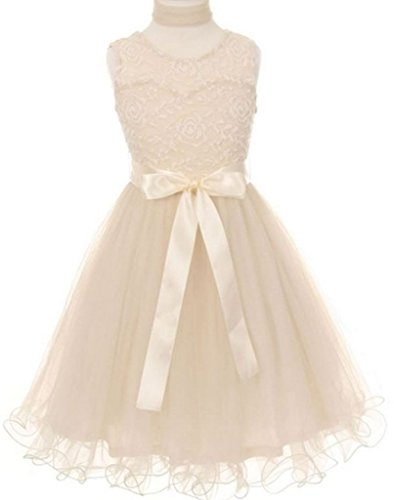 AkiDress Soft Tulle Tea Length Dress with Scart & Satin Ribbon Ivory 6 (Tea Length Ribbon)