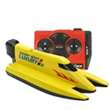 Qiyun 2.4G Remote Control Speed Boat Toy Waterproof Mini RC Racing Boat Model Electric Toys Gift for Kids style:Yellow