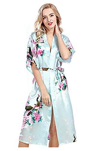 abito con donna notte pigiama da Kimono in pavone in seta Azzurro raso Robe stampato da da bagno pigiama mini pigiama lunga accappatoio ICpgqw5xqR