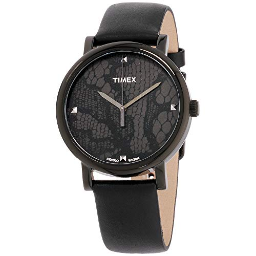Black Patterned Dial Watch - Timex Women's Quartz Watch with Black Dial Analogue Display and Black Leather Strap T2P461