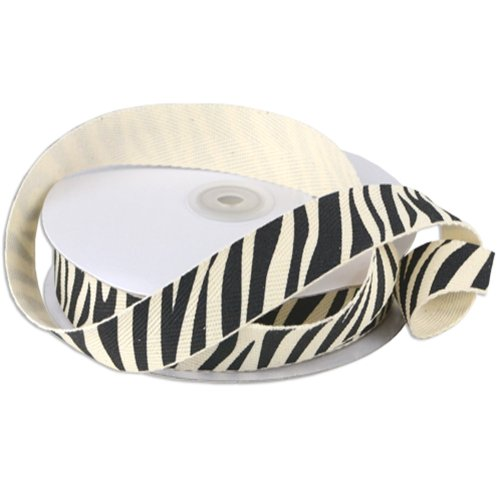 (Cotton Twill with Zebra Print Ribbon (7/8
