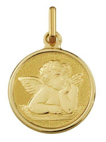 ANGE PENSIF - Medaille Religieuse - Or 18 carat - Hauteur: 18 mm - www.diamants-perles.com