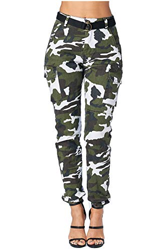 (TwiinSisters Women's High Rise Slim Fit Color Jogger Pants - Size Small to 3X (1X, Winter Camo)