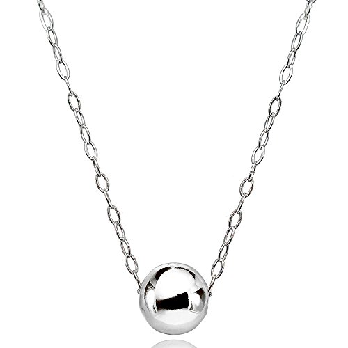 - Sterling Silver High Polished 7mm Ball Bead Slide Necklace