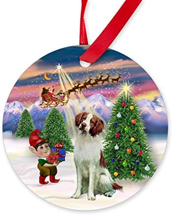 Voicpobo Take of/Brittany Spaniel Ornament (Round) Novelty Chrismtas Ornaments,Christmas Tree Decoration Ornaments, for Women Kids Girls