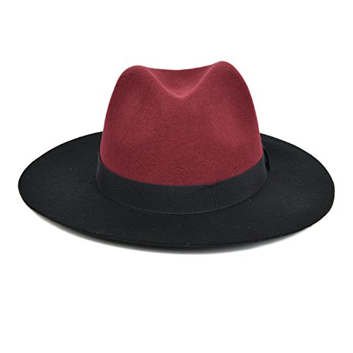 VOBOOM Women's Vintage 100% Wool Two Toned Trilby Fedora Hat Jazz Cap (Burgundy)