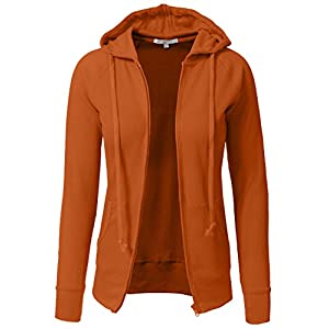 J. LOVNY Women Casual Light Weight Longsleeve Solid Thermal Hoodie Jackets