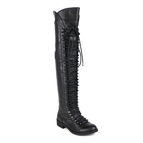 Boots Lace Military (Shoe Dezigns Travis 05 Women Military Lace Up Thigh High Combat Boot Black 7.5)