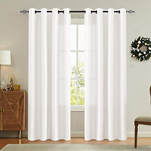 White Faux Silk Curtains for Bedroom Dupioni Light Reducing Window Curtain for Living Room Satin Drapes Privacy Window Treatments Grommet Top 84 inch Long 2 Panels (Drapes Silk White)