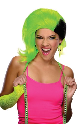 [Rubie's Costume Rave Punk Wig, Neon Green/Black, One Size] (Neon Green Wigs)